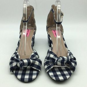 Betsey Johnson Blue Checkered Pumps Size 10